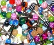 "50 Piece 14g 5/8"" UV Acrylic Tongue Barbell Package"
