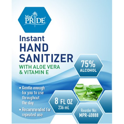 MedPride Hand Sanitizer Gel with Aloe Vera and Vitamin E - 8oz Pump