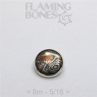 018 8mm Mokume-Gane Wood Grained Metal - Flat Threaded End in Sterling Silver