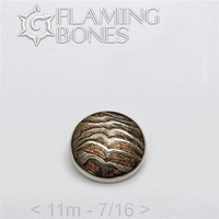 026 11mm Mokume-Gane Wood Grained Metal - Flat Threaded End in Sterling Silver