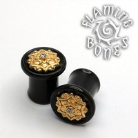 0g Black Dog Wood Plug with Yellow Gold Plated Chandi Mandala and Cubic Zirconia Gem Accent
