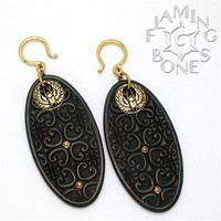 10g Flora Oval 1 Ear Dangles in Blackwood with Brass Accents
