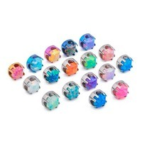 14g - 12g Titanium Prong-Set Opal Jeweled Top for Internally Threaded Jewelry - 4mm