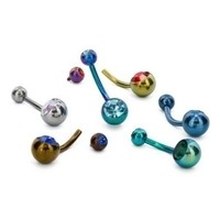 "14g 7/16"" Internally Threaded Titanium Curved Barbell with Double Jewels"