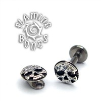 "14g ""Ancient Remains"" Skull Threaded Ends in Sterling Silver"