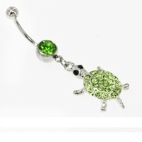 14g Belly Button Dangle with Green Turtle