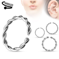 16g Braided Surgical Steel Annealed and Rounded End Cut Rings