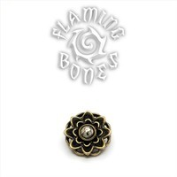 14g Brass Lotus Threaded Ends With Accent for Internally Threaded Body Jewelry