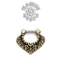 Brass Septum Klikr with Finely Detailed Floral Pattern and Surgical Steel Post - Vanda