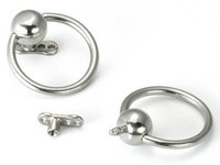 14g Captive Ring with Internally Threaded Ball