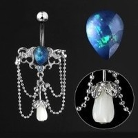 14g Chandelier Dangle with Synthetic Blue Opal Stone
