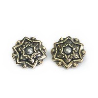 14g Chandi Mandala Bronze Threaded Ends With Silver Dome Accent