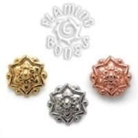 14g Chandi Mandala Gold Plated Threaded Ends for Internally Threaded Body Jewelry