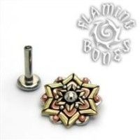14g Chandi Mandala Mixed Metal Threaded Ends With Accent for Internally Threaded Body Jewelry