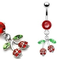 14g Cherry Skull Hybrid Curved Dangle