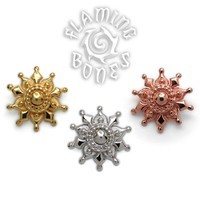 14g Gold Plated Sterling Silver Mayura Mandala Threaded Ends With Accent for Internally Threaded Body Jewelry