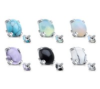 14g Steel Internally Threaded Round Semi Precious Stone Prong Set Dermal Tops