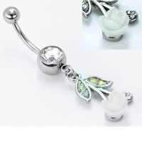 14g Jeweled Curved Barbell with Iridescent White Rose Dangle