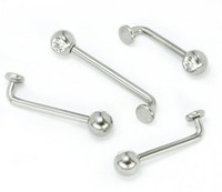 14g Jeweled Internally Threaded Titanium L-Bar