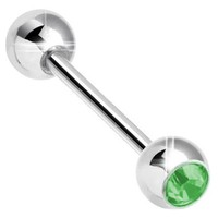14g Externally Threaded Jeweled Steel Barbell