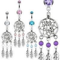 14g Navel Ring Dream Catcher Net with Bead Feathers