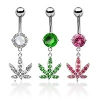 14g Prong-Set Gemstone Belly Curve with Pot Leaf Dangle