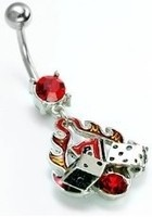 14g Prong Set Jeweled Navel with Lucky 7 & Flaming Dice Dangle