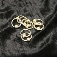 14g Pyrite Gold Titanium Captive Bead Rings