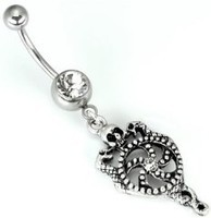 14g Single Jeweled Curved Barbell with Dangle Skull & Serpent Shield