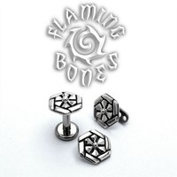 "14g ""Solar Flare"" Sacred Geometry Threaded Ends in Sterling Silver or Gold Plated Sterling Silver"
