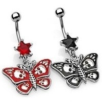 14g Star Jewel Dangle with Gothic Butterfly