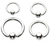 14g Steel Captive Bead Ring with Steel Bead