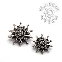14g Sterling Silver Mayura Mandala Threaded Ends With Accent for Internally Threaded Body Jewelry