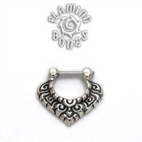 16g Sterling Silver Septum Klikr with Finely Detailed Floral Pattern and Surgical Steel Post - Vanda