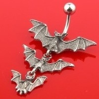 14g Triple Vampire Bats Belly Button Dangle