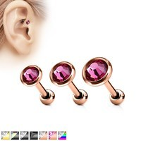 "16g 1/4"" Ion Plated Surgical Steel Flat Top Jeweled Cartilage Barbell"