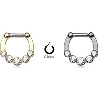 16g Septum Clicker - Five Large Gems Ion Plated