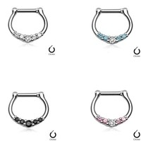 16g Septum Clicker - with Five Small Gems