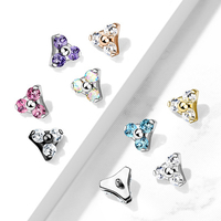 16g Triple Gem Set Triangle Surgical Steel Internally Threaded Top