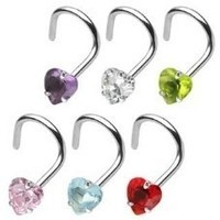 18g Nostril Screw with Prong Set 3mm Heart Jewel