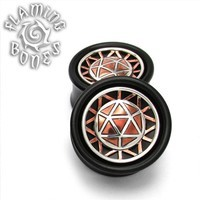 "1"" Icosahedron Collector Edition Plugs - Mixed Metal on BlackWood"