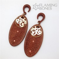 2g Flora Oval 1 Ear Dangles in Redwood with Shakudo Accents