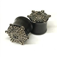 "3/4"" Black Dogwood Plugs with Ornate Silver"