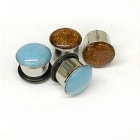 316LVM Steel Plug with Pearl Essence Acrylic Inlay