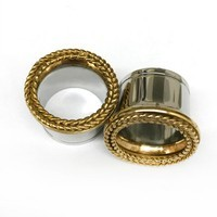 316LVM Steel with Gold Plated Silver Classic Braided Accent Eyelets