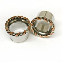 316LVM Steel with Silver and Copper Classic Braided Accent Eyelets
