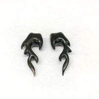 "7/16"" Tribal Sculptural Plugs in Black Water Buffalo Horn"