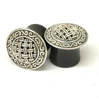 "9/16"" Black Dogwood Plugs with Ornate Silver"