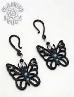 "Butterfly ""Black and Bling"" Black Water Buffalo Horn Ear Dangles with Gems"
