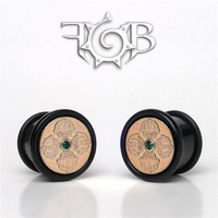 Black Buffalo Horn Cap Style Plugs with Inlayed Bhutanese Coin and Gem